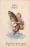 Fête - Voeux : 1er AVRIL : Poisson D' Avril : Enfant Portant Un Gros Poissons, Message Et Trèfle : Illustrateur - A. B. - 1 De April (pescado De Abril)