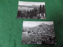 VINTAGE ITALY: Ancona Harbour Panorama X2 B&w Campassi - Ancona