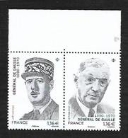 France 2020 - Yv N° 5444 & 5445 ** - Diptyque - Général De Gaulle - Ongebruikt