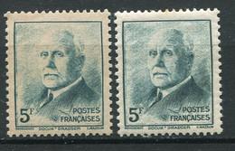 20271 FRANCE N°524a**(Yvert) 5F Vert-bleu Pétain : Impression Dépouillée + Normal (non Fourni)    1942  TB - Variedades: 1941-44 Nuevos