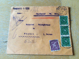 K12 Deutsches Reich 1922 Wertbrief Von Herten Baden Nach Fürth - Storia Postale
