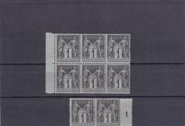 Type: Sage, N° 83, 1c Noir Azuré, Année 1877/1880 - 1 Bloc De 6 Timbres Et Un Bloc De 2 Timbres Avec Chiffre 1 - 1876-1898 Sage (Tipo II)