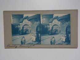 Début 1900 Nurenberg Nuernberg Carte Stéréoscopique Animée Ancienne Porte Tram Tramway Famille Enfants - Nuernberg