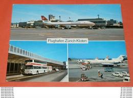 SCHWEIZ - Zürich-KNOTEN - Flughafen  Flugzeug - Bus - Flugzeug Auto's (2 Foto)(7031AK) - ZH Zurich