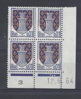 BLASON NIORT N° 1351A - Bloc De 4 COIN DATE - NEUF SANS CHARNIERE - 12/6/64 3 Points - 1960-1969
