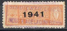 Sello Viñeta Central Nacional Sindicalista, 1 Pts BARCELONA 1941,  Industria Confeccion, Guerra Civil º - Viñetas De La Guerra Civil