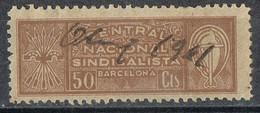 Sello Viñeta Central Nacional Sindicalista, 50 Cts BARCELONA 1941, Guerra Civil º - Viñetas De La Guerra Civil