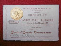 CARTE GALERIES GEORGES PETIT EXPOSITION DE PASTELLISTES FRANCAIS 1909 A ANTOINE LAUTIER - Visitenkarten