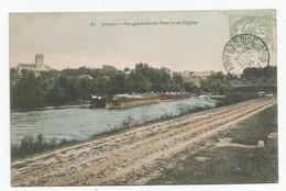 Péniches à Auvers (95 - Val D'Oise) Vue Générale Du Pont Et De L'Eglise - Chiatte, Barconi