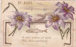 Fête - Voeux : 1er AVRIL : Poisson D' Avril : Paillettes :  Poisson Et Fleurs : Précurseur : - 1 De April (pescado De Abril)