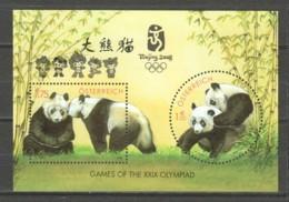 Austria 2003 Mi Block 18 MNH PANDA BEARS - SPECIAL OVERPRINT SUMMER OLYMPICS BEJING 2008 - Osos