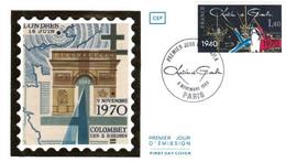 """65 - FRANCE - """"HOMMAGE AU GÉNÉRAL DE GAULLE"""" - 1er JOUR PARIS 8/11/1980 - De Gaulle (General)"""