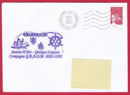 3991 Marine, PH Jeanne D'Arc, Campagne 2001-2002, Escale à Valparaiso, Chili, Oblit. Mécanique JDA, 18-01-2002, Marianne - Posta Marittima