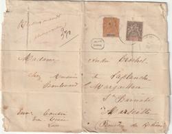 Lettre Recommandée Affranchissement 55cts Tarif Photographies Y&T 10 Y&T11 Du Laos Vien Tiane Pour Marseille Mai 1903 - Storia Postale