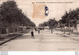 SAINT NAZAIRE LES BOULEVARDS GAMBETTA ET VICTOR HUGO 1905 TBE - Saint Nazaire