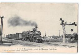 CPA 74 Annemasse La Gare Et Le Train - Arrivée De L'expresse Paris - Evian - Annemasse
