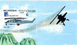 Nicaragua 1988 Finlandia Helicoptère Helicopter Hubschrauber Elicottero Helicoptero NH Industries NH-90 - Philatelic Exhibitions
