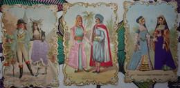 Lot De 3 Chromos (costumes) Avec Décor De Satin - Other