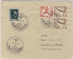DR - 12+3 Pfg. Olympiade Zusammendruck Brief SST Aue (Sachs) - Beuel 1937 - Se-Tenant
