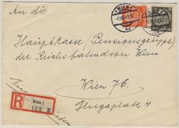Österreich/Ostmark - 30+8 Pfg. Hindenburg, Orts-Einschreibebrief Wien 1941 - Covers & Documents