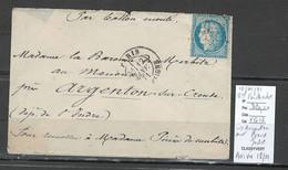 France - BALLON MONTE -12/01/1871 - LE GENERAL FAIDHERBE - Pour Argenton Sur Creuse - Indre - 1870 Siège De Paris