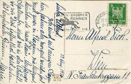 60879 Germany Reich,circuled Card 1926 Baden Baden Rennen, August 1926 - Storia Postale