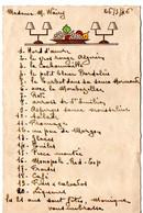MENU ANNIVERSAIRE 21 ANS 26/05/1946 HUMORISTIQUE - Menus