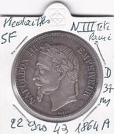 MEDAILLES  NAPOLEON III TETE LAUREE  5 FRANCS  1864   A - Royal / Of Nobility