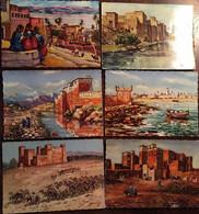 6 Cpm - Photos Flandrin, Maroc, Aquarelles Signées Ojeda,Schmidt (2) ,Batelyre,Flégier (2) - Mogador, Taguerst,Ouarzazat - Sin Clasificación