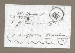 MARCOPHILIE.. PRECURSEUR XIXe ..Fragment De Lettre Du 30 Sept. 1829.. Cachet 77 CASTRES - 1801-1848: Precursors XIX