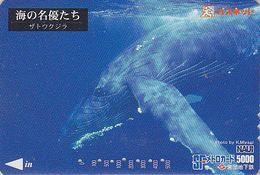 Carte Prépayée JAPAN - ANIMAL - Série NAUI DIVING 6/8 - BALEINE & Baleineau - WHALE JAPAN Prepaid Metro Card - 350 - Dolphins
