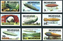 Nicaragua 1977 Airships LZ-127 Graf Zeppelin, LZ-10 Schwaben, LZ-2 Giffard, Astra Ville De Paris, - Zeppelins