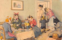 Chats - Chat - Peintres - Habillés - Chez Le Dentiste - Mal De Dents - Salle D'attente - Dressed Animals