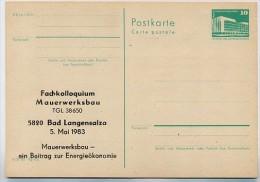 DDR P84-9-83 C21 Postkarte Zudruck MAUERWERKSBAU BAD LANGENSALZA 1983 - Postales Privados - Nuevos