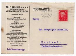 1924. GERMANY, LUDWIGSHAFEN TO NOVI SAD, SERBIA,DR .F.RASCHIG,CHEMICAL FACTORY,CORRESPONDENCE CARD,USED - Storia Postale