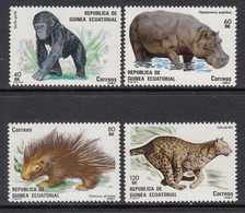 1982 1983 Equatorial Guinea Wildlife Hippo Cheetah Gorilla    Complete Set Of 4 MNH - Equatoriaal Guinea