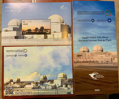 UAE 2020 Nuclear Energy Plant Barakah Stamp SS MNH Ltd Edition Post Card + Flier - Ver. Arab. Emirate