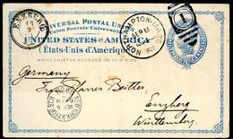UX6 Postal Card SP-29 Northampton MA To Enzberg Germany 1903 - ...-1900