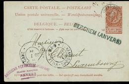 Entier, Obl. (ambulant) ANVERS - BRUXELLES 4 Du 20/07/1899 + Griffe De BERCHEM (ANVERS) - Sello Lineal