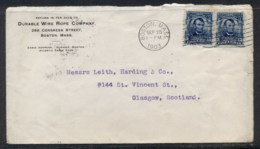 USA 1903 2x5c Lincoln CC Cover, Hardware, Wire Rope To Scotland - Unclassified