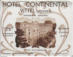 88 -- VITTEL - PLAQUETTE DE L HOTEL CONTINENTAL - Vittel Contrexeville