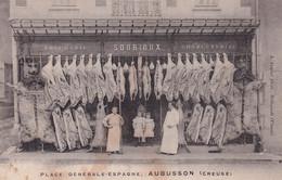 """AUBUSSON """" TOP CARTE , Boucherie Sourioux , Tres RARE   """"    N°6080 - Aubusson"""