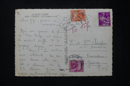 FRANCE - Taxes De Juvisy Sur Carte Postale De Cannes En 1958 - L 80455 - Lettres Taxées