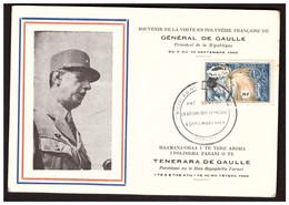 A La Mémoire Du Général DE GAULLE  Polynésie Française - De Gaulle (General)