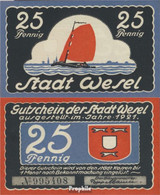 Wesel Notgeld: 25 Pfennig Notgeldschein Der Stadt Wesel Bankfrisch 1921 25 Pfennig Wesel - Andere