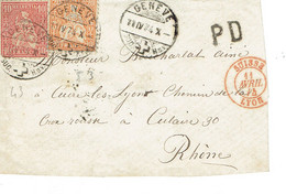 Suisse N° 43 + 53 Devant De Lettre 11-04-1874 - Storia Postale