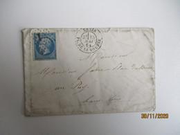 Paris Etoile 1  Pl De La Bourse Sur Lettre Obliteration - 1849-1876: Période Classique
