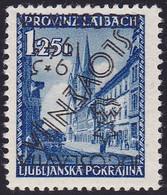 Ljubljana, 1945, Provisional Issue, 1,25 Lira Inverted Overprint, Position 57 In Sheet (100), MNH, Certificate Bar - Eslovenia