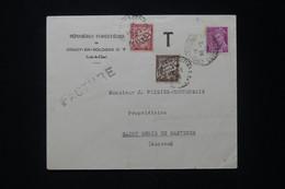 FRANCE - Taxes De St Denis De Gastines Sur Enveloppe Commerciale De Crouy En Sologne En 1939 - L 80484 - Lettres Taxées