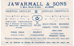 ALGER-CARTE PUBLICITAIRE JAWARMALL ET SONS - ARTICLES ORIENTAUX- INDIGENES - Visiting Cards